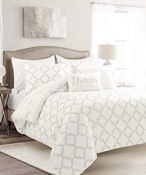 Lush Decor White Ravello Pintuck Caroline Geo 7 Piece Comforter Set FullQueen 0 300x360
