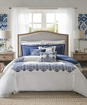 MADISON PARK SIGNATURE Indigo Sky Faux Linen Oversized Comforter 8 Piece Set Queen92x96 Farmhouse Blue 0 0 300x360