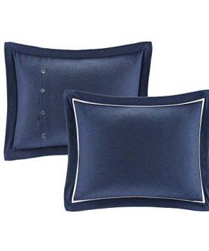 MADISON PARK SIGNATURE Indigo Sky Faux Linen Oversized Comforter 8 Piece Set Queen92x96 Farmhouse Blue 0 1 300x360