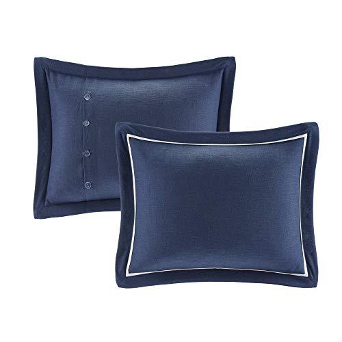 MADISON PARK SIGNATURE Indigo Sky Faux Linen Oversized Comforter 8 Piece Set Queen92x96 Farmhouse Blue 0 1