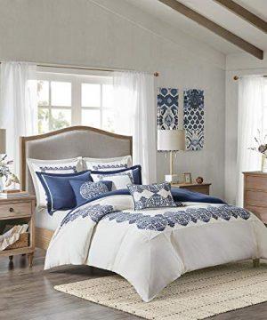 MADISON PARK SIGNATURE Indigo Sky Faux Linen Oversized Comforter 8 Piece Set Queen92x96 Farmhouse Blue 0 300x360