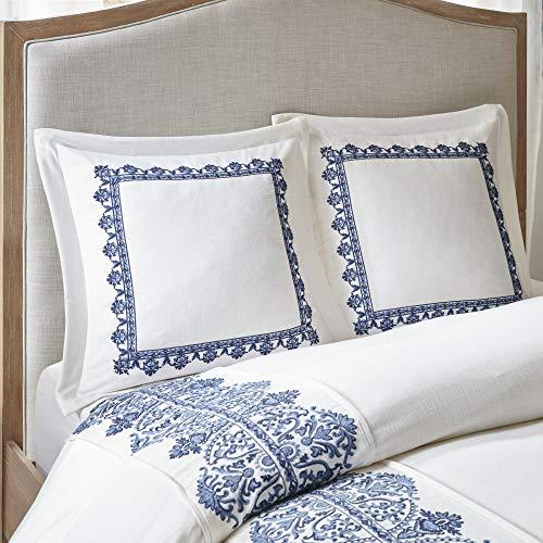 MADISON PARK SIGNATURE Indigo Sky Faux Linen Oversized Comforter 8 Piece Set Queen92x96 Farmhouse Blue 0 4