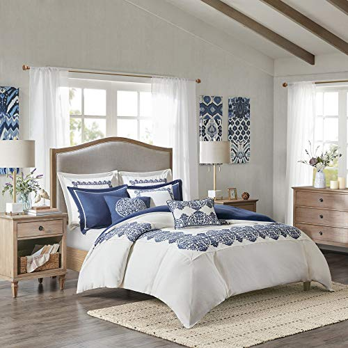 MADISON PARK SIGNATURE Indigo Sky Faux Linen Oversized Comforter 8 Piece Set Queen92x96 Farmhouse Blue 0