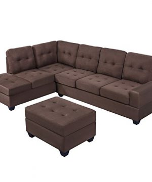MERITLINE Reversible Sectional Couch For Living Room Upholstered Fabric L Shaped Sofa 4 Seat Sectional With Chaise And Tufted Storage Ottomanfor Small Space Use104Brown 0 0 300x360