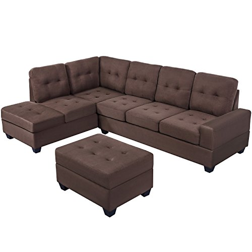 MERITLINE Reversible Sectional Couch For Living Room Upholstered Fabric L Shaped Sofa 4 Seat Sectional With Chaise And Tufted Storage Ottomanfor Small Space Use104Brown 0 0