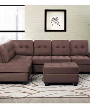 MERITLINE Reversible Sectional Couch For Living Room Upholstered Fabric L Shaped Sofa 4 Seat Sectional With Chaise And Tufted Storage Ottomanfor Small Space Use104Brown 0 300x360