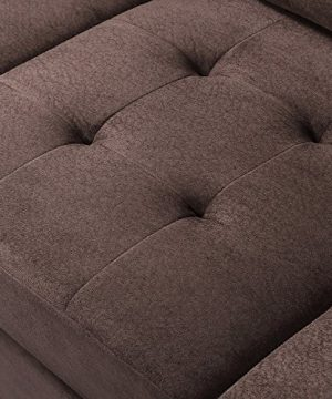 MERITLINE Reversible Sectional Couch For Living Room Upholstered Fabric L Shaped Sofa 4 Seat Sectional With Chaise And Tufted Storage Ottomanfor Small Space Use104Brown 0 4 300x360
