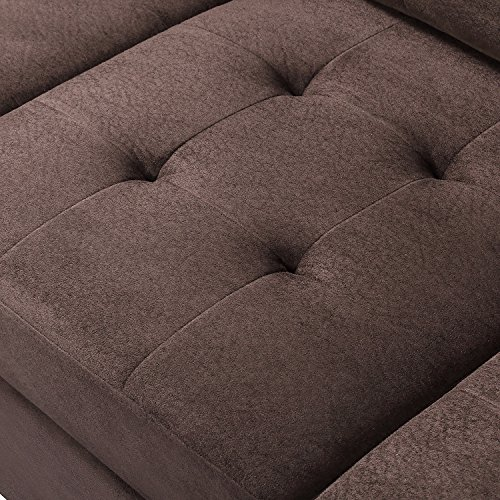 MERITLINE Reversible Sectional Couch For Living Room Upholstered Fabric L Shaped Sofa 4 Seat Sectional With Chaise And Tufted Storage Ottomanfor Small Space Use104Brown 0 4