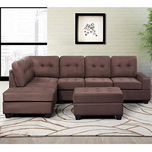 MERITLINE Reversible Sectional Couch For Living Room Upholstered Fabric L Shaped Sofa 4 Seat Sectional With Chaise And Tufted Storage Ottomanfor Small Space Use104Brown 0