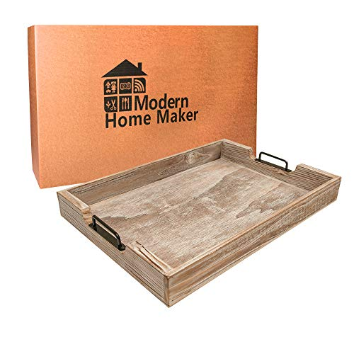 MHM Rustic Distressed Weathered Gray Wood Couch Tray Farmhouse Serving Tray Rustic Wood With Modern Black Metal Handles Decorative Tray To Serve Breakfast TeaFood Ottoman Tray Decor Tray 0 0