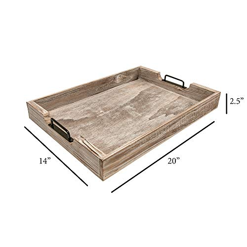 MHM Rustic Distressed Weathered Gray Wood Couch Tray Farmhouse Serving Tray Rustic Wood With Modern Black Metal Handles Decorative Tray To Serve Breakfast TeaFood Ottoman Tray Decor Tray 0 1