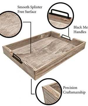 MHM Rustic Distressed Weathered Gray Wood Couch Tray Farmhouse Serving Tray Rustic Wood With Modern Black Metal Handles Decorative Tray To Serve Breakfast TeaFood Ottoman Tray Decor Tray 0 2 300x360