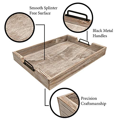 MHM Rustic Distressed Weathered Gray Wood Couch Tray Farmhouse Serving Tray Rustic Wood With Modern Black Metal Handles Decorative Tray To Serve Breakfast TeaFood Ottoman Tray Decor Tray 0 2