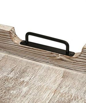 MHM Rustic Distressed Weathered Gray Wood Couch Tray Farmhouse Serving Tray Rustic Wood With Modern Black Metal Handles Decorative Tray To Serve Breakfast TeaFood Ottoman Tray Decor Tray 0 3 300x360