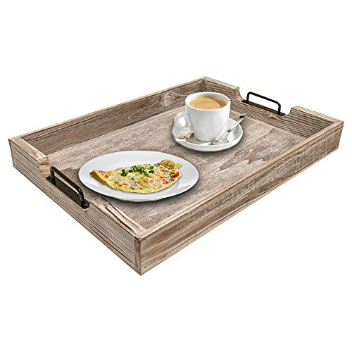 MHM Rustic Distressed Weathered Gray Wood Couch Tray Farmhouse Serving Tray Rustic Wood With Modern Black Metal Handles Decorative Tray To Serve Breakfast TeaFood Ottoman Tray Decor Tray 0