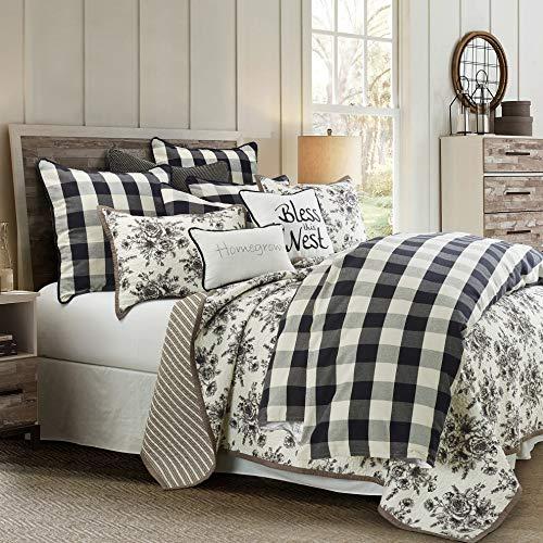 MISC Comforter Set Full Black White 3pc Check Farmhouse Cotton Blend 3 Piece 0