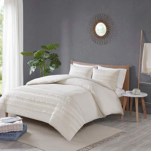 MISC Ivory White Seersucker Comforter FullQueen Set Seer Sucker Bedding Cotton Farmhouse Pretty Shabby Chic Country Charm 3 Piece 0 0
