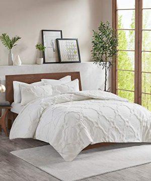 MISC White Chenille Comforter Full Queen Set Tufted Bedding Geometric Quatrefoil Chenile Cotton Farmhouse Pretty Shabby Chic Country Charm 3 Piece 0 0 300x360