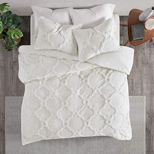 MISC White Chenille Comforter Full Queen Set Tufted Bedding Geometric Quatrefoil Chenile Cotton Farmhouse Pretty Shabby Chic Country Charm 3 Piece 0 1