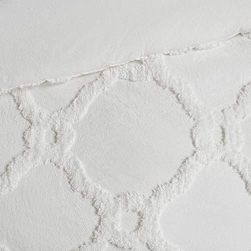 MISC White Chenille Comforter Full Queen Set Tufted Bedding Geometric Quatrefoil Chenile Cotton Farmhouse Pretty Shabby Chic Country Charm 3 Piece 0 2