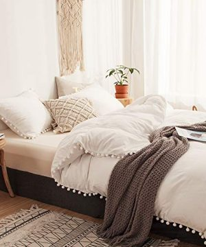 MOVE OVER 2 Pieces White Bedding Offwhite Duvet Cover Set Ball Fringe Pattern Design Soft Off White Bedding Sets Twin 1 Duvet Cover 1 Ball Lace Pillow Sham Twin Offwhite 0 300x360