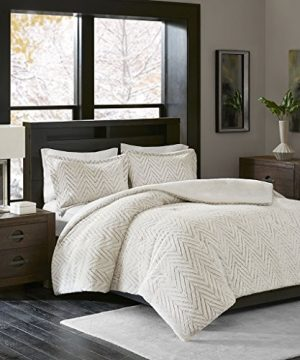 Madison Park Adelyn Ultra Soft Plush Faux Fur Chevron 3 Pieces Bedding Sets Bedroom Comforters FullQueen Ivory 0 0 300x360