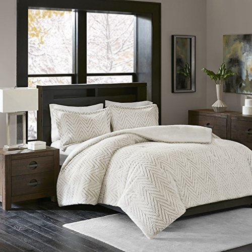 Madison Park Adelyn Ultra Soft Plush Faux Fur Chevron 3 Pieces Bedding Sets Bedroom Comforters FullQueen Ivory 0 0