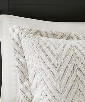 Madison Park Adelyn Ultra Soft Plush Faux Fur Chevron 3 Pieces Bedding Sets Bedroom Comforters FullQueen Ivory 0 2 300x360