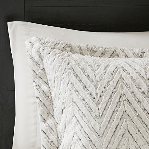 Madison Park Adelyn Ultra Soft Plush Faux Fur Chevron 3 Pieces Bedding Sets Bedroom Comforters FullQueen Ivory 0 2