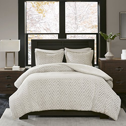 Madison Park Adelyn Ultra Soft Plush Faux Fur Chevron 3 Pieces Bedding Sets Bedroom Comforters FullQueen Ivory 0