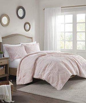 Madison Park Arya Medallion Pattern Ultra Soft Luxury Premium Plush Comforter Mini Bedding Set FullQueen Blush 0 1 300x360