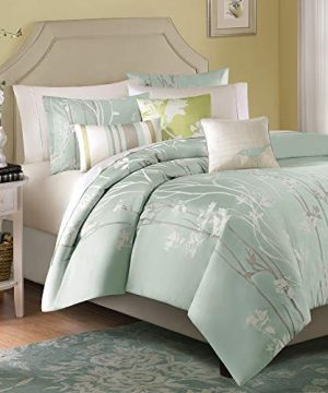 Madison Park Athena King Size Bed Comforter Set Bed In A Bag Seafoam Green Floral Jacquard 7 Pieces Bedding Sets Ultra Soft Microfiber Bedroom Comforters 0 300x360