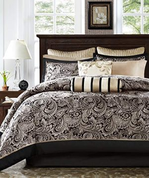 Madison Park Aubrey Queen Size Bed Comforter Set Bed In A Bag Black Champagne Paisley Jacquard 12 Pieces Bedding Sets Ultra Soft Microfiber Bedroom Comforters 0 300x360