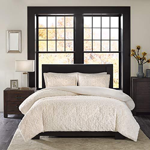 Madison Park Bismarck FullQueen Size Bed Comforter Set Ivory Embroidered Medallion 3 Pieces Bedding Sets Faux Fur Plush Bedroom Comforters 0 0