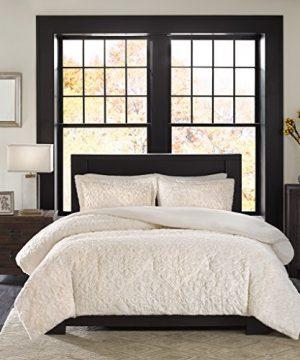 Madison Park Bismarck FullQueen Size Bed Comforter Set Ivory Embroidered Medallion 3 Pieces Bedding Sets Faux Fur Plush Bedroom Comforters 0 2 300x360