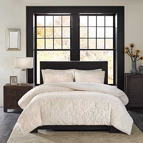 Madison Park Bismarck FullQueen Size Bed Comforter Set Ivory Embroidered Medallion 3 Pieces Bedding Sets Faux Fur Plush Bedroom Comforters 0 2