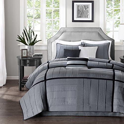 Madison Park Bridgeport 7 Piece Comforter Set Queen 90x90 Black Dark Grey 0