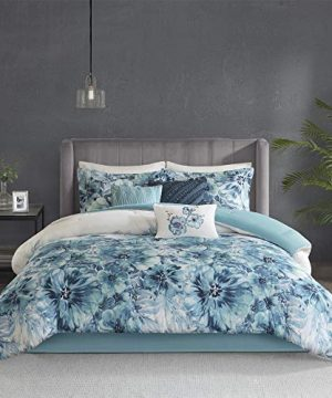 Madison Park Cassandra 8 Pc 100 Cotton Percale Large Floral Print With Reverse Solid Embroidered And Tufted Toss Pillows Shabby Chic All Season Comforter Bedding Set Cal King104x92 Teal 0 300x360