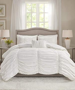 Madison Park Delancey King Size Bed Comforter Set White Ruched Pleating 4 Pieces Bedding Sets 100 Cotton Percale Bedroom Comforters 0 300x360