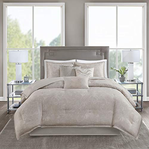 Madison Park Emory 7 Piece Cotton Sateen Comforter Set King104x92 Rose GoldBeige 0 0