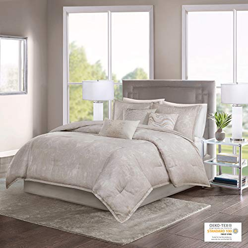Madison Park Emory 7 Piece Cotton Sateen Comforter Set King104x92 Rose GoldBeige 0