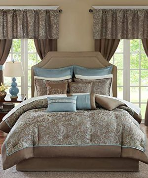 Madison Park Essentials Brystol 24 Piece Room In A Bag Faux Silk Comforter Jacquard Paisley Design Matching Curtains Down Alternative Hypoallergenic All Season Bedding Set King Blue 0 300x360