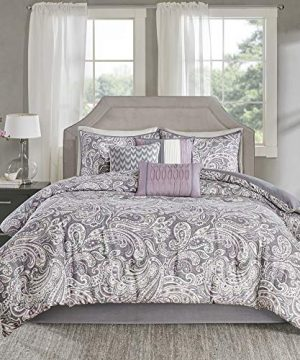 Madison Park Gabby Cal King Size Bed Comforter Set Bed In A Bag Purple Paisley 7 Pieces Bedding Sets 100 Cotton Sateen Bedroom Comforters Cal King104x92 MP10 3317 0 300x360