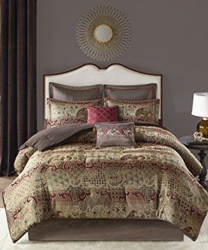 Madison Park Hickory 8 Piece Chenille Jacquard Comforter Set Bedding Cal King Size Red 0 300x360
