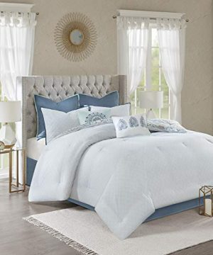 Madison Park Isla King Size Comforter Set With Designs Printed Cotton Percale Botanical Medallion Solid Reversible Bedding 104x92 Floral Blue 0 0 300x360