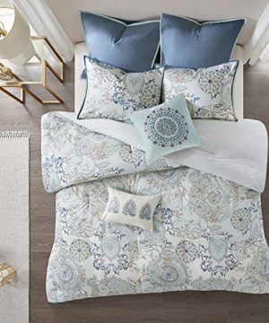 Madison Park Isla King Size Comforter Set With Designs Printed Cotton Percale Botanical Medallion Solid Reversible Bedding 104x92 Floral Blue 0 1 300x360