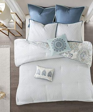 Madison Park Isla King Size Comforter Set With Designs Printed Cotton Percale Botanical Medallion Solid Reversible Bedding 104x92 Floral Blue 0 2 300x360