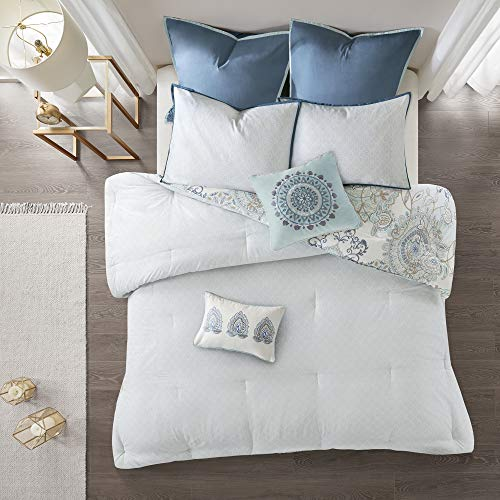 Madison Park Isla King Size Comforter Set With Designs Printed Cotton Percale Botanical Medallion Solid Reversible Bedding 104x92 Floral Blue 0 2