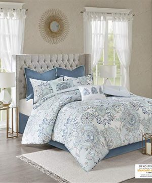 Madison Park Isla King Size Comforter Set With Designs Printed Cotton Percale Botanical Medallion Solid Reversible Bedding 104x92 Floral Blue 0 300x360