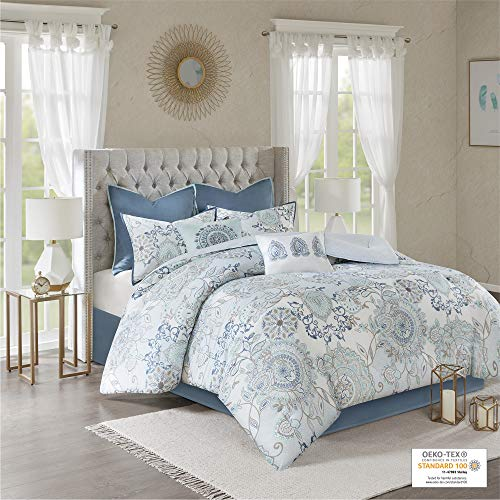 Madison Park Isla King Size Comforter Set With Designs Printed Cotton Percale Botanical Medallion Solid Reversible Bedding 104x92 Floral Blue 0